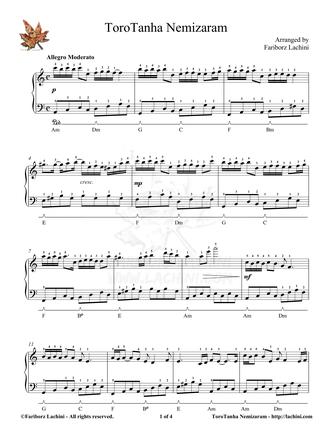 Toro Tanha Nemizaram Sheet Music