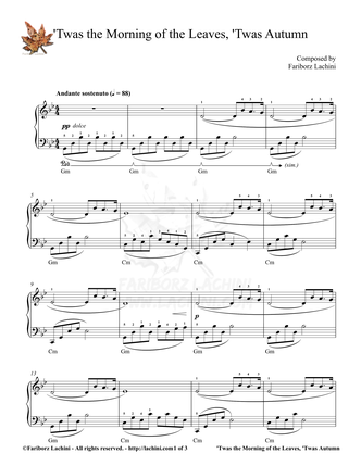 Twas The Morning of The Leaves Twas Autumn Sheet Music