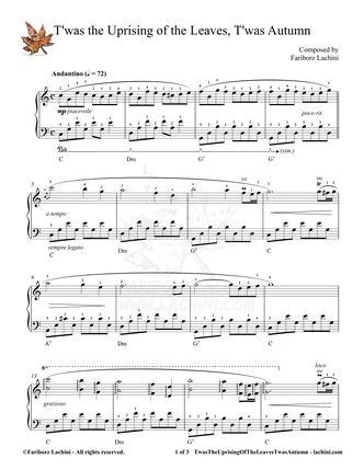 Twas the Uprising of the Leaves Twas Autumn Sheet Music