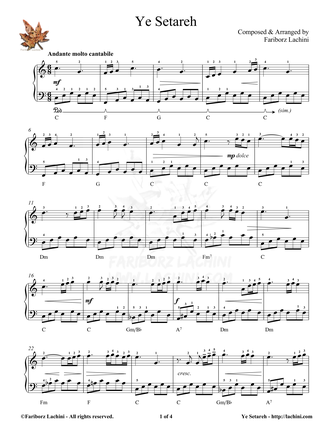 Ye Setareh Sheet Music