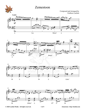 Zemestoon Sheet Music