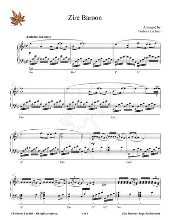 Zire Baroon Sheet Music