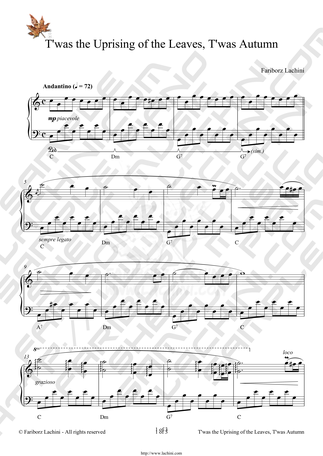 Twas the Uprising of the Leaves, Twas Autumn Sheet Music